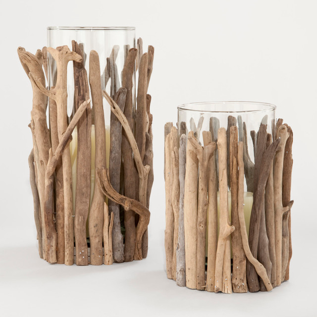 Twisted driftwood hurricane candleholders contemporary for Best brand of paint for kitchen cabinets with candle holder hurricane