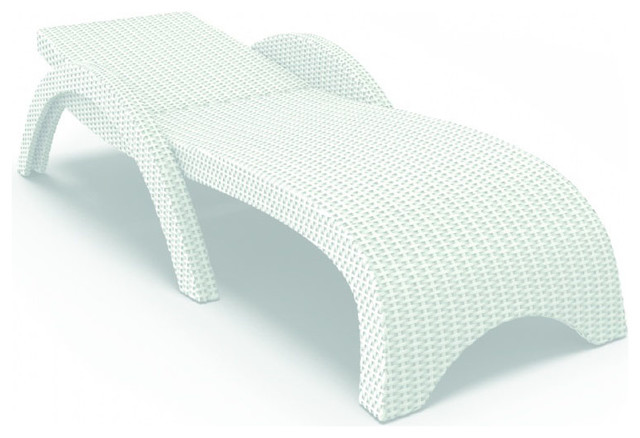 Miami Resin Wickerlook Chaise Lounge White Set of 2 Contemporary Outdoo