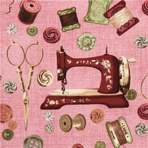 old rose Vintage sewing machine fabric by Robert Kaufman - Fabric - by ...