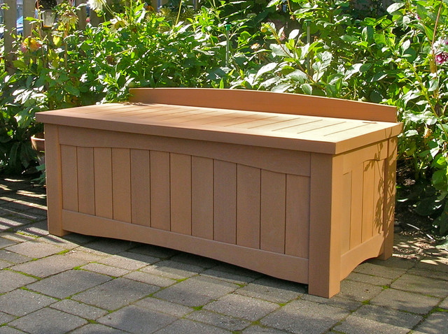Garden Storage Bench Contemporary Outdoor Benches Vancouver By Curtis Custom Woodwork