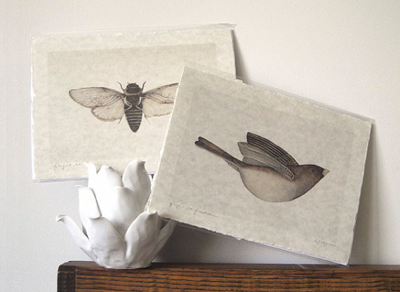 Cicada Art Bird Art Neutral Hand Torn Parchment Print by The Haunted Hollow Tree modern artwork