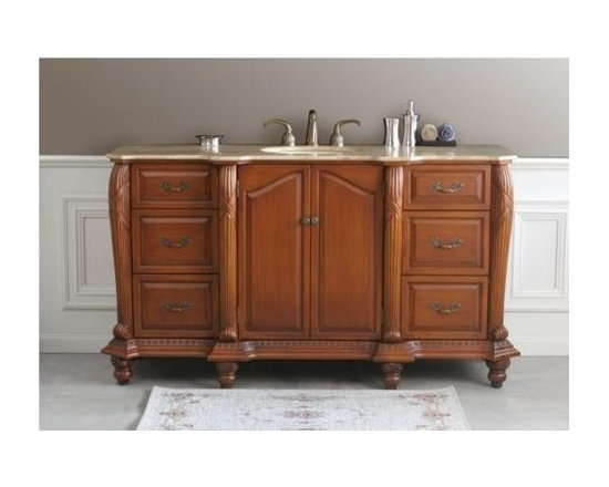 """Virtu USA 65"""" Geneva - Antique Oak - Travertine Single Sink Bathroom Vanity - The Geneva single sink bathroom vanity is the perfect choice for any bathroom where only one sink is needed. At 65 inches long this vanity offers a large counter space. The shape of the stone top reflects the contouring cabinet. Six drawers with raised panels are accented with antquie brass pulls. http://www.tatarishop.com"""