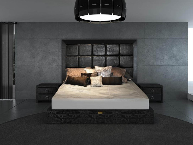 Unique leather contemporary platform bedroom sets modern for Awesome bedroom sets modern