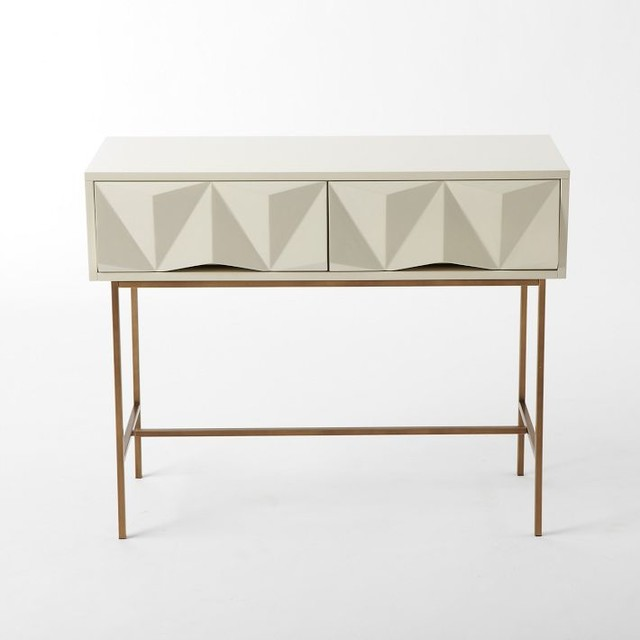 Sculpted Geo Console, Parchment - Eclectic - Side Tables ...