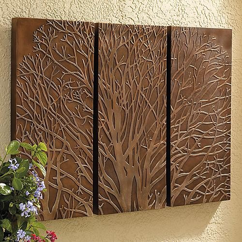 Tree triptych outdoor wall art traditional artwork for Outside wall art
