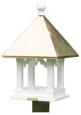 Lazy Hill Farms Blue Verde Copper Roof Square Bird Feeder modern-bird-feeders