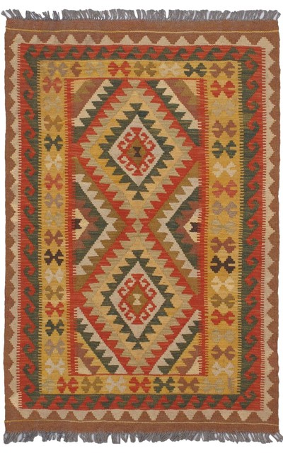 "Flat-weave Anatolian Kilim Light Gold Wool Kilim 3'3"" x 5'0"" traditional-rugs"