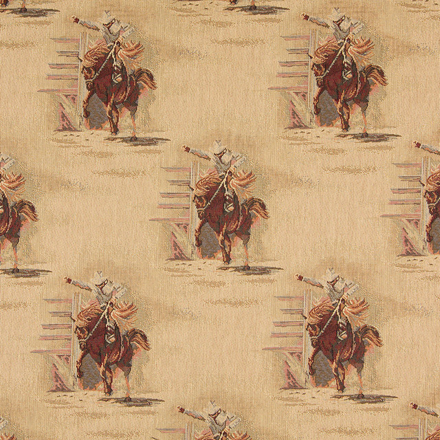 Rodeo Cowboys And Horses Themed Tapestry Upholstery Fabric