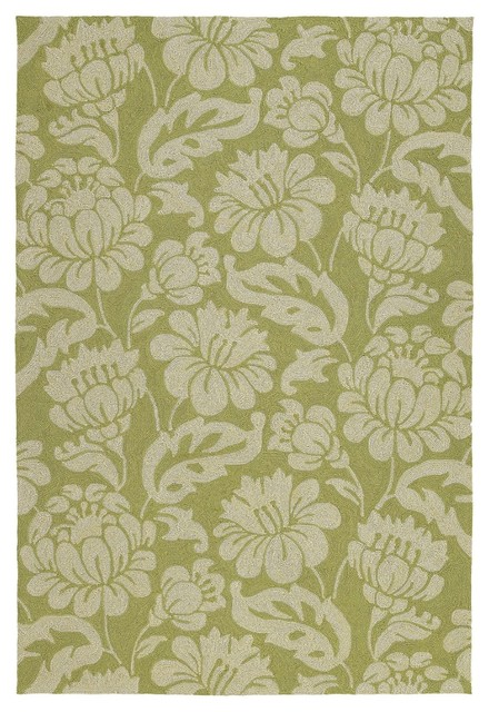 Country & Floral Habitat 10'x14' Rectangle Wasabi Area Rug tropical-rugs