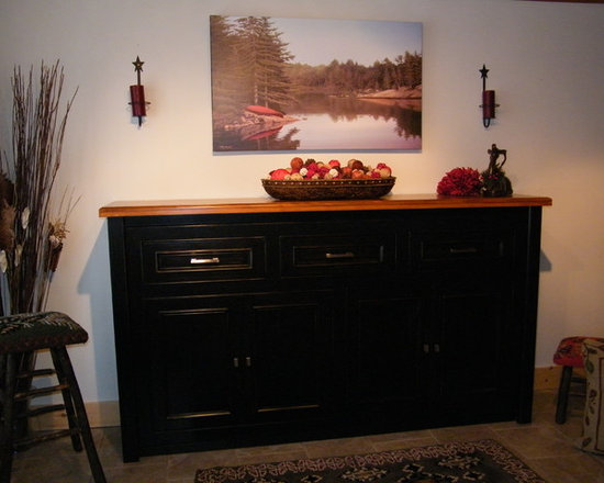 """Secret Sleeper Murphy Beds - """"Rosseau Twin Console"""" Closed position. Black distressed finish, with stained wood top, satin nickel hardware."""