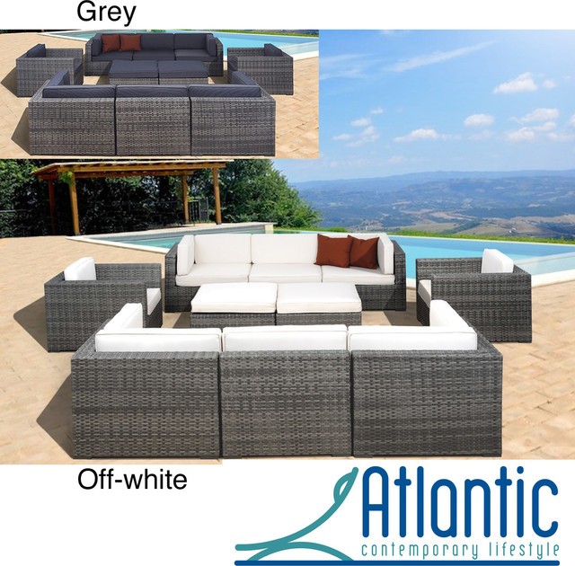 Milano GreyOff White 10 piece Sectional Contemporary