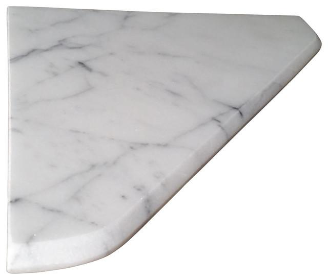"8"" Marble Shower Corner Shelf (C. Statuary) Stone Bathroom Caddy Soap Dish"