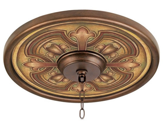 """Lamps Plus - Traditional Siena Giclee 16"""" Wide Bronze Ceiling Medallion - This giclee pattern ceiling medallion transforms your existing fixture into a work of art. Its custom printed pattern on canvas is a reproduction of an artisan hand-painting. The giclee canvas is mounted on a 16"""" wide Valencia bronze finish medallion which is lightweight and installs easily to your ceiling with multi-purpose adhesive (not included). Polypropylene construction. Canopy and chain not included. Please note this is a custom made-to-order piece; please allow 7 to 10 days for your medallion to be created. Valencia bronze finish. Siena pattern. Polypropylene construction. Giclee canvas. Lightweight and easy to install. Adhesive not included. 16"""" wide. 4"""" center opening.  Valencia bronze finish.   Siena pattern.   Polypropylene construction.   Giclee canvas.   Lightweight and easy to install.   Adhesive not included.   16"""" wide.   4"""" center opening."""