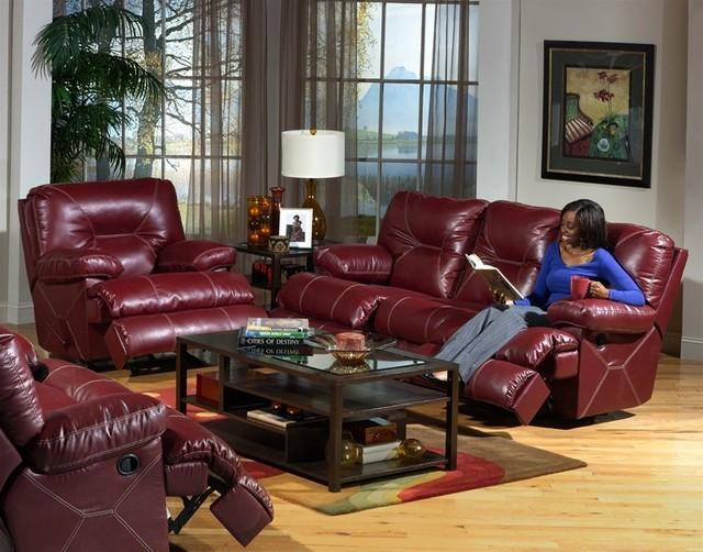 Catnapper Cortez 2 Piece Dual Reclining Sofa Set In Dark Red Leather 429