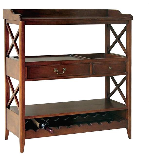 Wayborn Eiffel Open Storage Sideboard With Wine Rack In