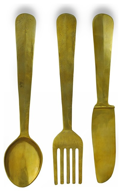 Set Of 3 Aluminum Brass Finish Fork Knife Spoon Wall