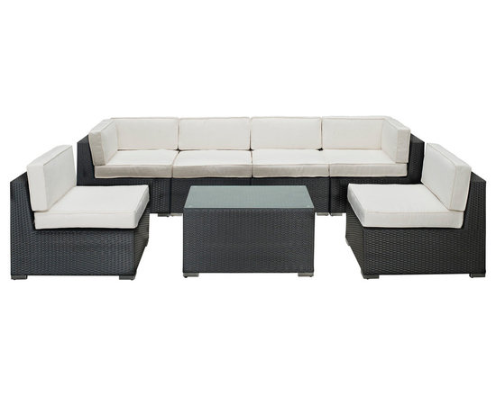 LexMod - Aero Outdoor Wicker Patio 7 Piece Sectional Sofa Set in Espresso - Introduce aerodynamic comfort with the Aero Outdoor Sectional Set. Welcome your friends and family to a motivational setting of exceptional appeal. Aero is a versatile seating environment built for patio, backyard or pool areas in need of something dynamic.