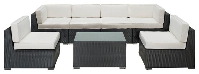 Aero Outdoor Wicker Patio 7 Piece Sectional Sofa Set in Espresso modern-patio-furniture-and-outdoor-furniture