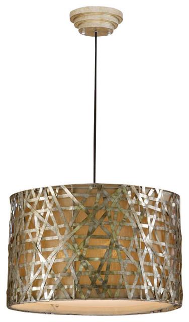 Uttermost Alita Champagne Metal Drum Pendant in Silver transitional-pendant-lighting