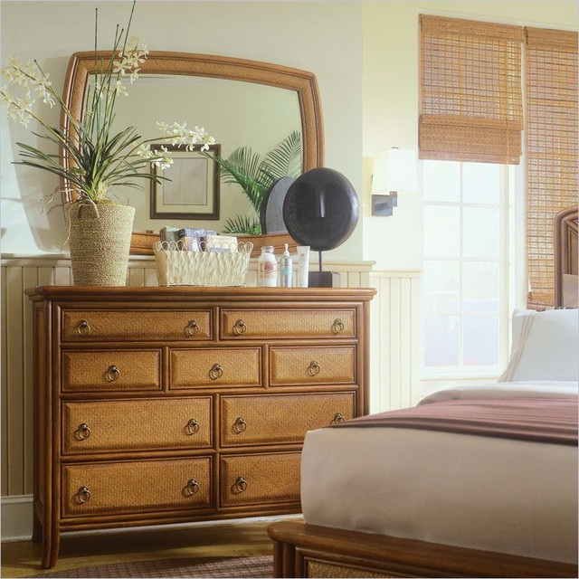 American Drew 931-020 Accent Landscape Mirror Antigua traditional-makeup-mirrors