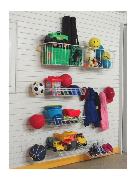 Kids Toy Storage Lifestyle Kit - The GT531 Kids Toy Storage Kit on TekPanel is a suggested grouping of accessories to store and organise your children's toys. This kit offers a large amount of storage in a space of 5ft w x 8ft h or 8ft w x 4ft h and includes: