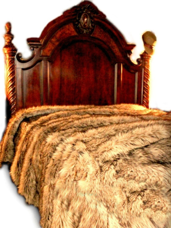 Fur Accents - Fur Bedspread, Coyote, Timber Wolf Faux Fur, Passion Suede Lining, 60x90 - A Truly Original Animal Theme Plush Fur Bedspread / Comforter. Rich, Soft Faux Animal Pelt Bedding. Unique and Exclusive Design. Made from 100% Animal Free and Eco Friendly Fibers. Perfect for that special place in your home. This will be the Focal Point of your Bedroom. Try it in the Winter Lodge, Log Cabin or Master Suite. So comfortable and elegant. Supple Fur tastefully lined with fine parchment Ultra Suede. Luxury, Quality and Unique Style suitable for the most discriminating Designer / Decorator.