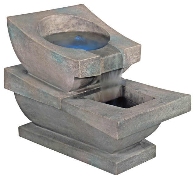 Henri Studios Prairie Spill Basin With Led Light Fountain Contemporary Outdoor Fountains And
