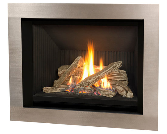 H5 Series Fireplace - 1150I H5 Engine shown with Logs and 4 Sided Nickel Surround
