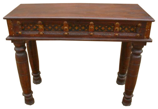 Traditional Foyer Table : Carved wood brass acent entry hall foyer console table