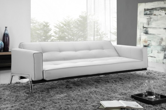 Romano Convertible Sofa Bed In White Eco Leather