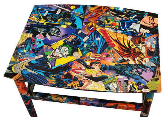 Decoupaged Comic Book Table by Balooga - Eclectic - Side ...