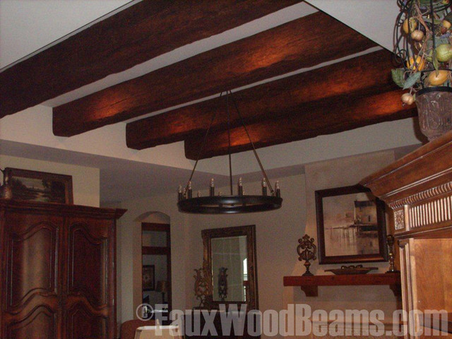Faux beam tray ceiling update traditional family room for Fake wood beams for ceiling