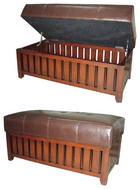 Wood And Brown Synthetic Leather Storage Bench Contemporary Benches By
