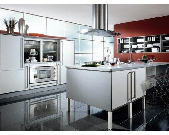 Modern sleek Kitchen with silver cabinets -