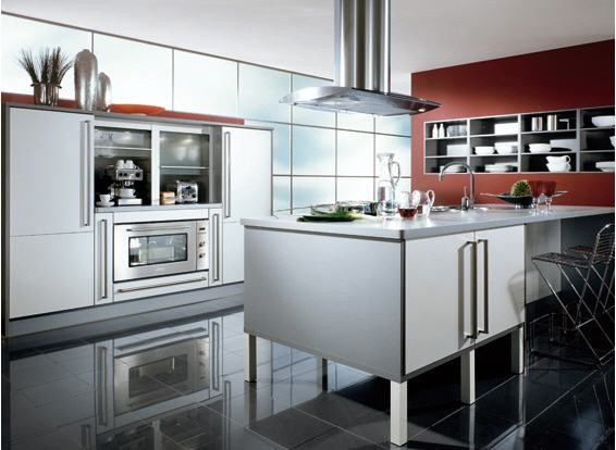 Modern sleek kitchen with silver cabinets for Sleek modern kitchen cabinets