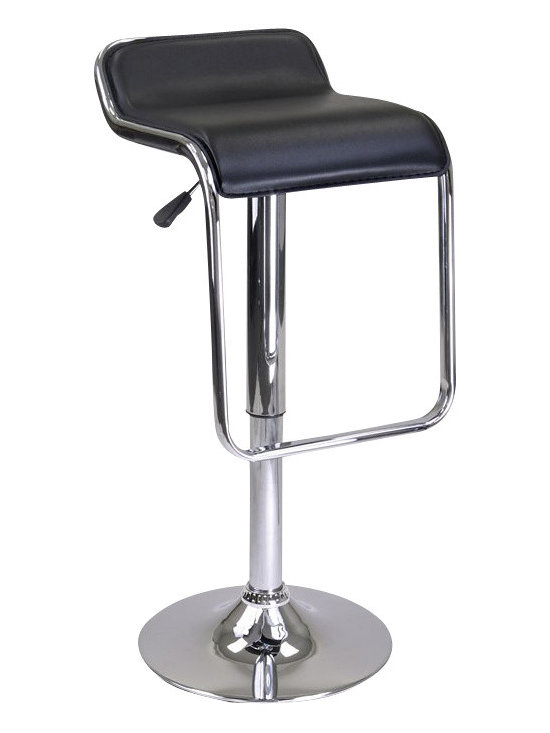 Winsome - Winsome Oslo Air Lift Backless Stool with Footrest in Black/Chrome - Winsome - Bar Stools - 93114 - Add this unique and distinct Oslo Adjustable Airlift Stool to your home.