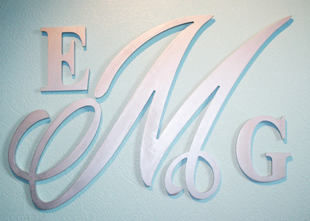 Monogram Wooden Wall Letters - Modern - Wall Letters - calgary - by ...