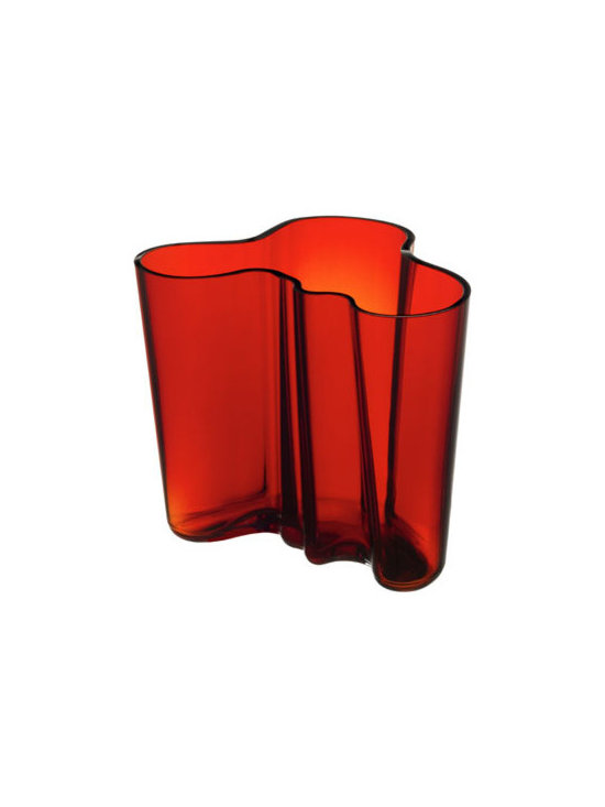 "Aalto Flaming Red Vase - 6-1/4"" -"