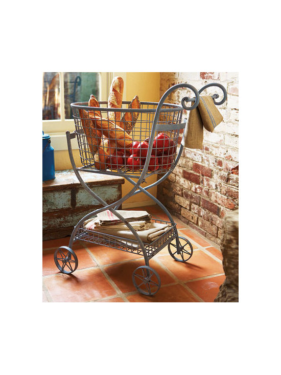 Toulose Rolling Basket - This vintage-inspired rolling basket would be great for storage or decor in my kitchen.