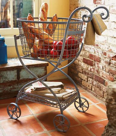 Toulose Rolling Basket mediterranean-kitchen-islands-and-kitchen-carts