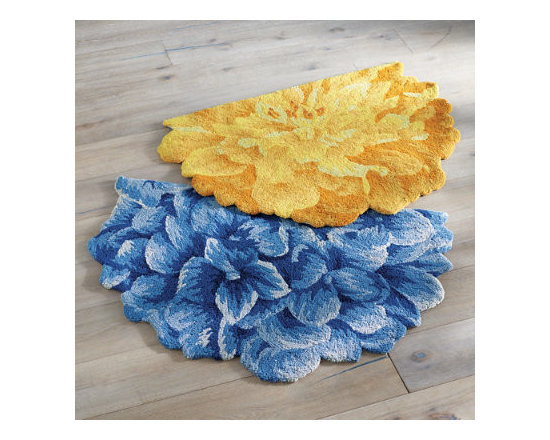 Grandin Road - Bouquet of Blooms Half-Round Rug - Mum - Half round rug in the shape of a single glorious bloom with rich details of petals. Hand-hooked loop construction using high-density poly-acrylic fibers. Clean spills immediately by blotting with a clean sponge or cloth. Professionally clean only. Rug padding is recommended (see our nonslip rug grips). Blue Hydrangea, Yellow Peony, and Beige Mum-we took three of the most distinguished flowers and turned them each into a single blooming rug. Each half-round rug boasts rich details of petals in full bloom and is designed from the bird's eye perspective.  .  .  .  .  . Imported .
