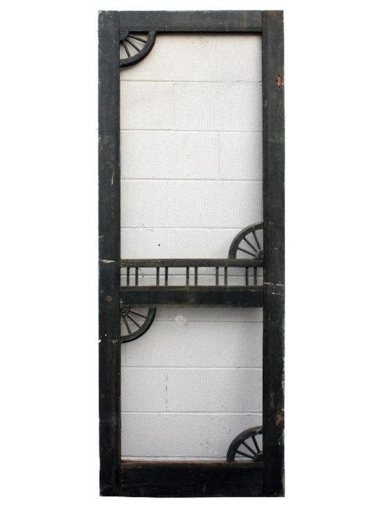 """Antique Exterior Doors - Salvaged Antique 30"""" Screen Door with Decorative Detail, c. 1890's"""