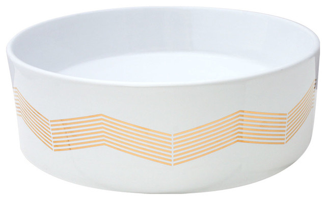 Gold Chevron Stripe Hand Painted Sink modern-bathroom-sinks