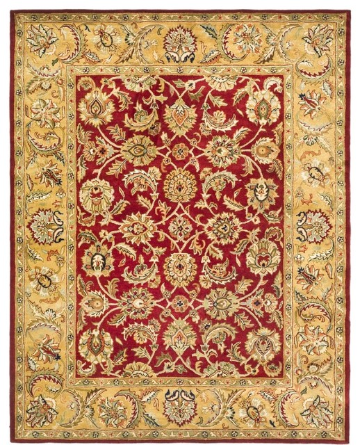 Traditional classic 8 39 3 x11 39 rectangle red gold area rug for Red and gold area rugs