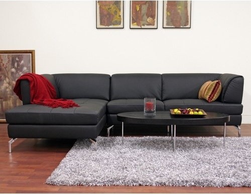 Wholesale Interiors Godfrey Black Leather Sectional Sofa modern-sectional-sofas