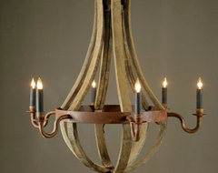Wine Barrel Chandelier - 6 candle mediterranean chandeliers