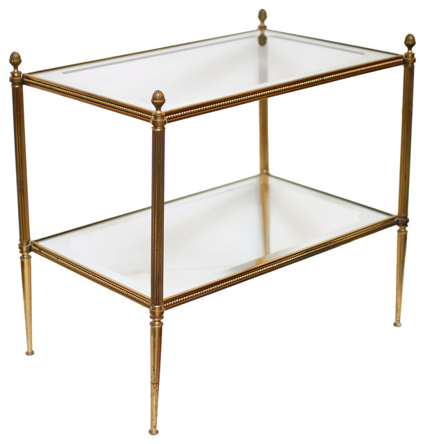 French Vintage Brass And Glass Side Table