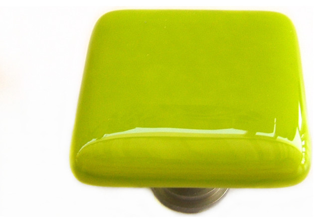 Lime green fused glass cabinet hardware by Uneek Glass Fusions eclectic-cabinet-and-drawer-knobs