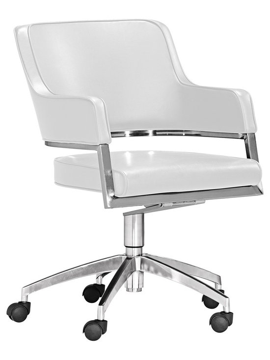 "Zuo - Zuo Performance Collection White Office Chair - Sleek ultra-modern style is yours with the Performance Collection. This white office chair will allow you to sit in style and comfort. The armrests seat back and seat cushion are all wrapped in sophisticated white leatherette while chrome finish accents and base add to its strong look of modernity. Casters are included for easy movement. Design by Zuo Modern. White leatherette seat. Chrome finish base. Includes casters. Seat height 19 1/2"". Seat depth 20 1/2"". 35 1/2"" high. Base is 27 1/2"" wide.  White leatherette seat.   Chrome finish base.   Includes casters.   Some assembly required.  Seat height 19 1/2"".   Seat depth 20 1/2"".   35 1/2"" high.   Base is 27 1/2"" wide."