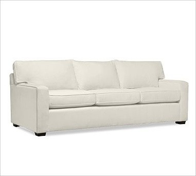 PB Square Upholstered Sofa, Polyester Wrap Cushions, Organic Cotton Canvas Natur traditional-sofas